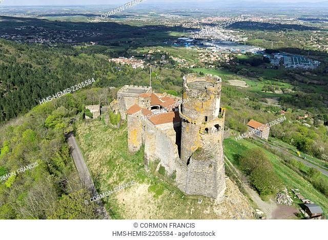 France, Puy de Dome, Volvic, Tounoel castle (aerial view)