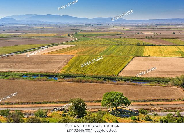 Aerial view of farming land at sunny day, Turkey