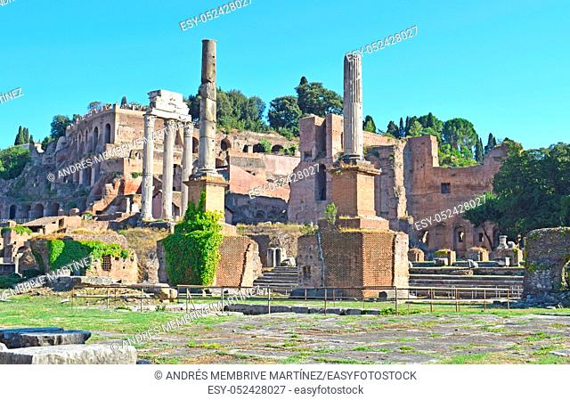 Ruins in Roman Forum, in Rome Italy