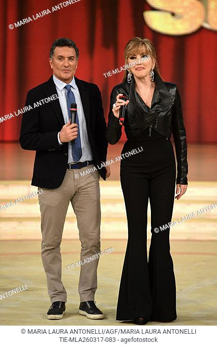 The former football player Claudio Gentile with Milly Carlucci during the tv show Ballando con le stelle, Rome, 25-03-2017