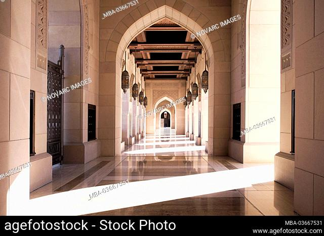 Arcade, Sultan Qaboos Mosque, Grand Mosque, Muscat, Muscat, Sultanate of Oman, Middle East