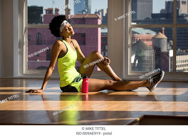Woman chilling after workout