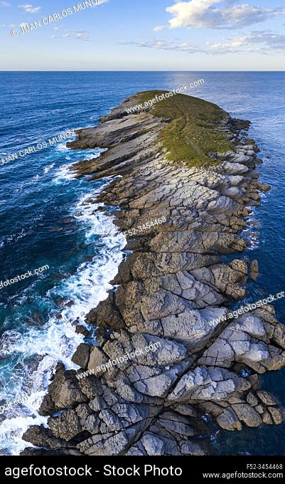 Aerial View, La Ballena, Sonabia, Castro Municipality, The Way of Saint James, Cantabrian Sea, Cantabria, Spain, Europe