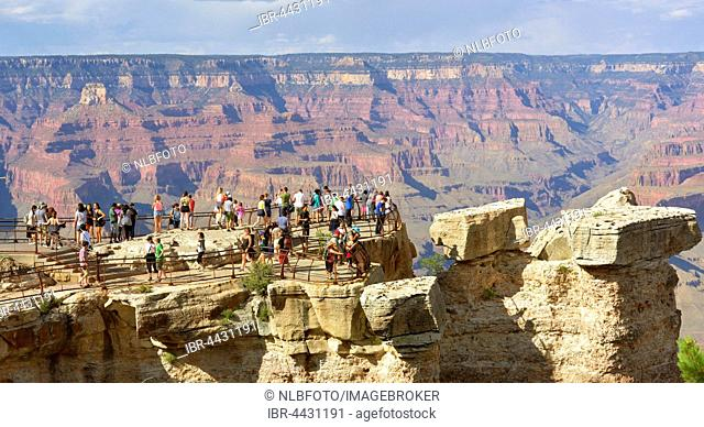 Viewing platform with tourists, South Rim, Grand Canyon National Park, USA