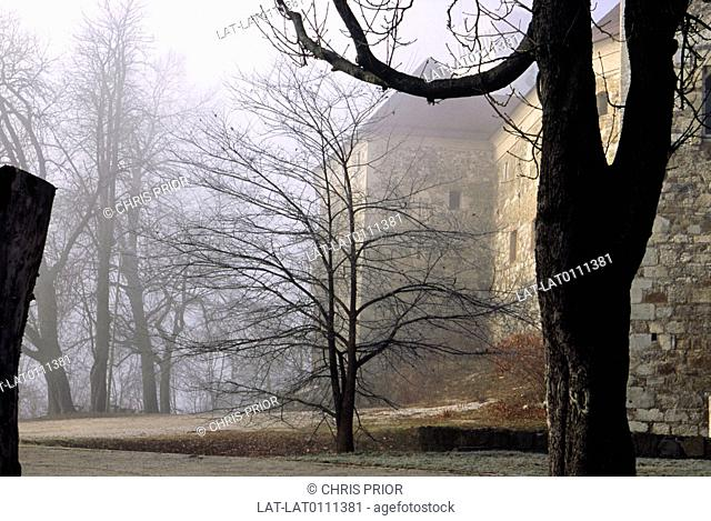 Castle Hill. Ljubliana castle. Hilltop. Fortified building. High wall. Trees. Bare branches. Winter. View through mist. Early morning