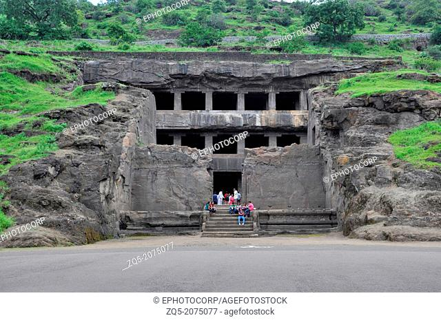 Cave 12 : Teen Tal Facade. Three storied cave has a broad forecourt with three halls. Ellora Caves, Aurangabad