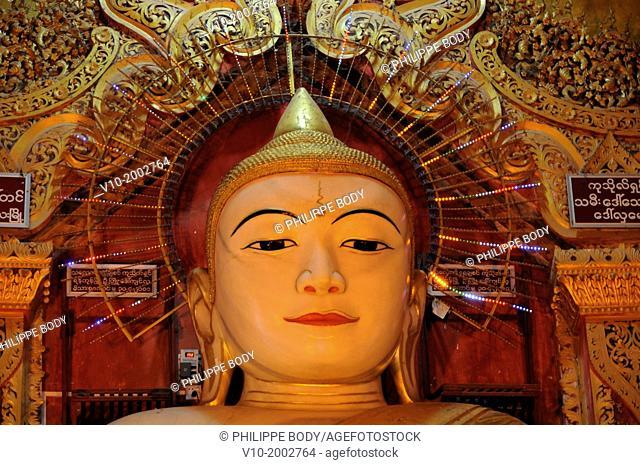 Burma, Myanmar, Amarapura, U Bein, statue of Buddha in the village pagoda
