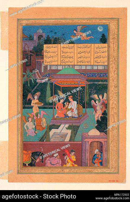 The Story of the Princess of the Blue Pavillion: The Youth of Rum Is Entertained in a Garden by a Fairy and her Maidens, Folio from a Khamsa (Quintet) of Amir...