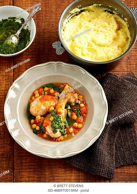 Bowl of chicken and chickpeas