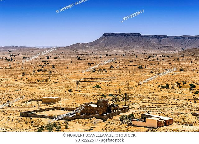 Africa, North Africa, Maghreb, South Tunisia, Chenini. Governorat of Tataouine. A house new village of Chenini