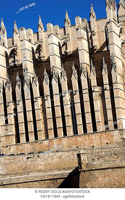 Spain. Balearic Islands. Mallorca. Palma de Mallorca. The cathedral of La Seo was build in 1230 and it was finished in 1601