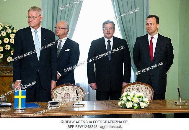 04.05.2011 Warsaw, Poland. Pictured: Bronislaw Komorowski, Radoslaw Sikorski, Carl Bildt, Carl XVI Gustaf of Sweden