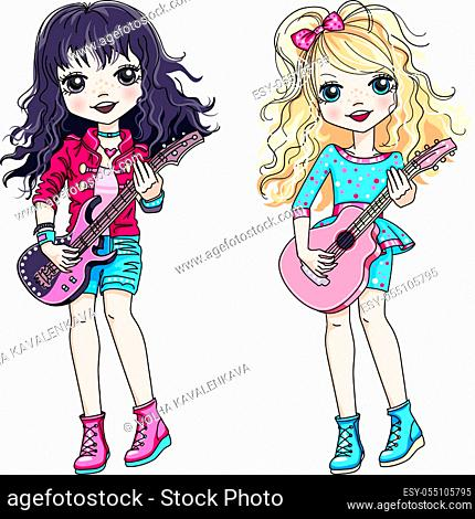 Vector cool rock stars brunette and blond baby girls musician playing guitar