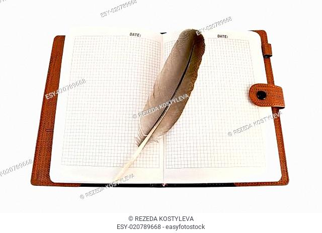 Notebook with quill