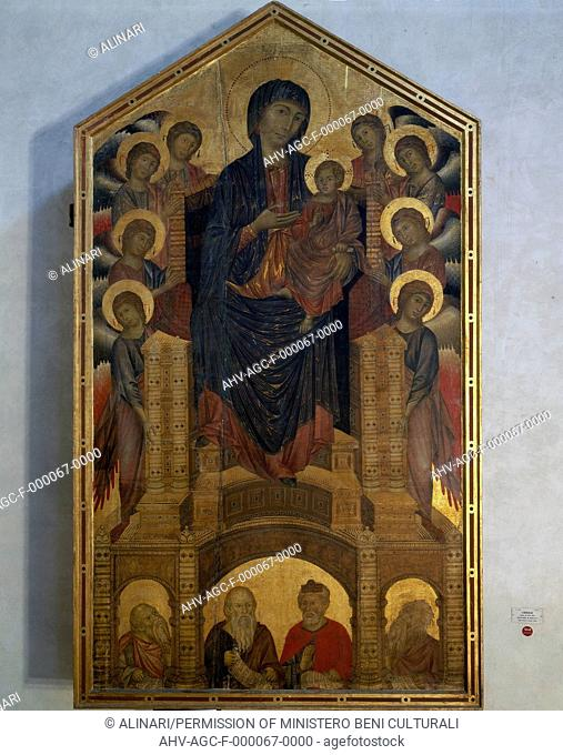 The Virgin Enthroned And Child, With Angels, Saints And Prophets, Painting On Panel, Cimabue, The Uffizi Gallery in Florence (1280-1302 ca