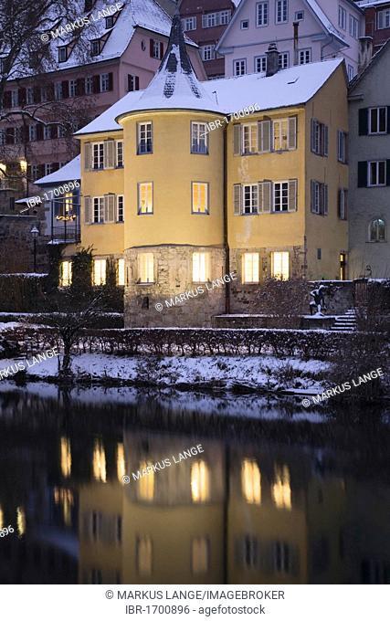 Hoelderlinturm tower in winter, Tuebingen, Baden-Wuerttemberg, Germany, Europe