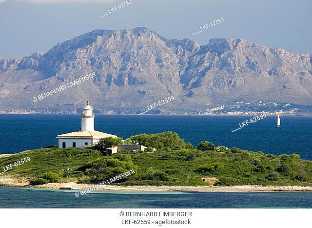 Illa d Alcanada with lighthouse, near Alcudia, Majorca, Spain