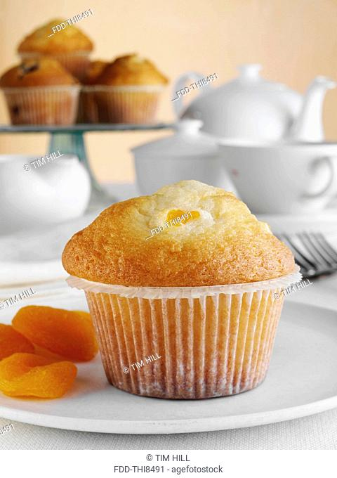 Breakfast apricot Muffin with fruit and tea set