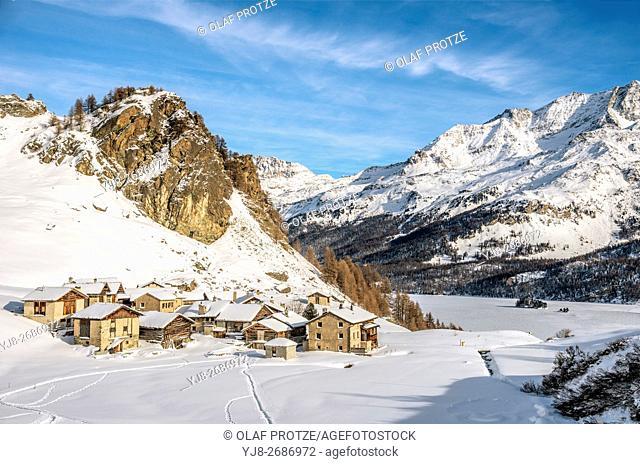Heidi Village Grevasalvas in Winter, Engadine, Grisons, Switzerland