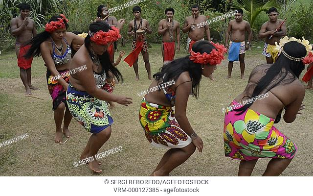 Music and dancing in the village of the Native Indian Embera Tribe, Embera Village, Panama. Panama Embera people Indian Village Indigenous Indio indios natives...