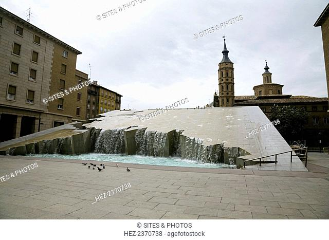 Fountain of the Hispanidad (Fuente de la Hispanidad), Zaragoza, Spain, 2007. This fountain was erected in 1991, just after the Pilar Square (also called the...