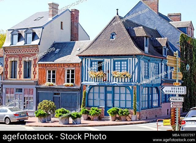 typical half-timbered houses in Beaumont-en-Auge. Department of Calvados in the Normandy region