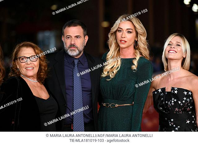 Valeria Fabrizi, director Fausto Brizzi, Silvia Salis and Lorena Cacciatore during the red carpet of film Motherless Brooklyn at the 14th Rome Film Festival
