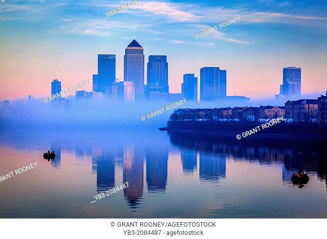 Canary Wharf Financial District Through The Fog, London, England