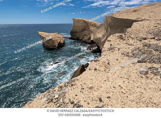 Tajao landscape, volcanic coastline in south Tenerife island, Canary islands, Spain