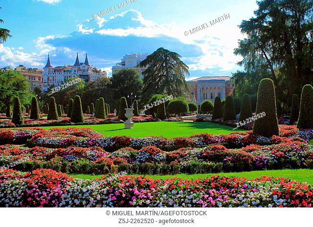 """The """"""""parterre"""""""" Garden, only French-style garden in Madrid's Retiro Park, and Casón del Buen Retiro (part of the ancient Buen Retiro royal palace and nowadays..."""