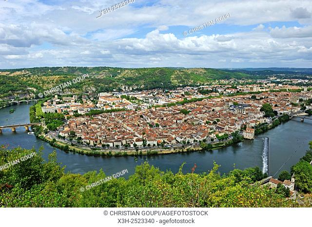 city of Cahors viewed from the viewpoint at Mont Saint Cyr, Lot department, region of Midi-Pyrenees, southwest of France, Europe