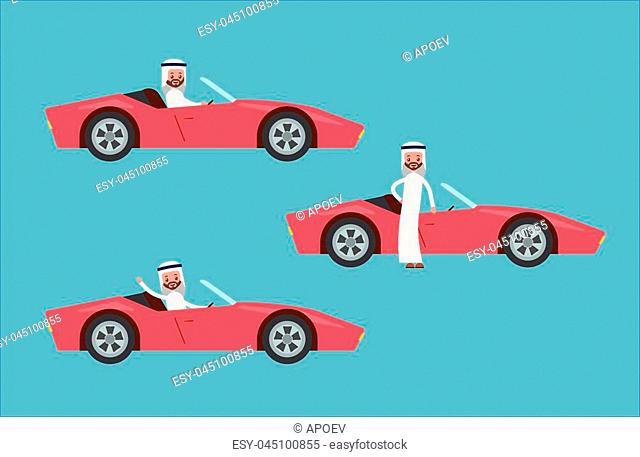 drives the car at the wheel. waving his hand in a suit and shirt. Arab saudi businessman. cartoon character set