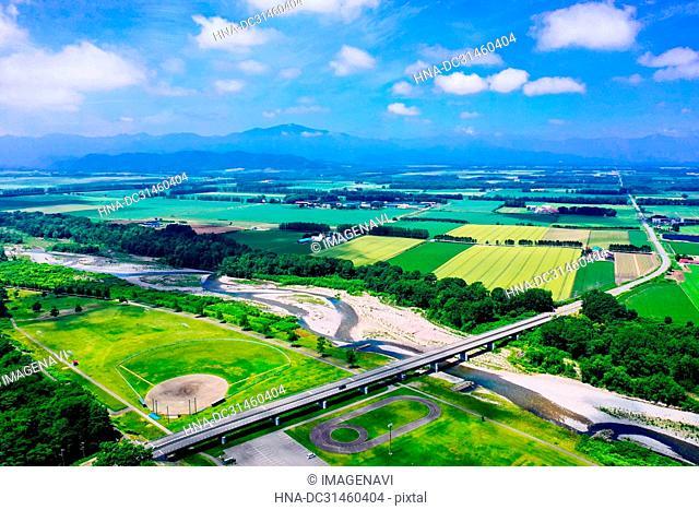 Nakasatsunai village, aerial photography, Hokkaido Prefecture, Japan