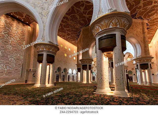 Interior of the Sheikh Zayed Grand Mosque in Abu Dhabi UAE