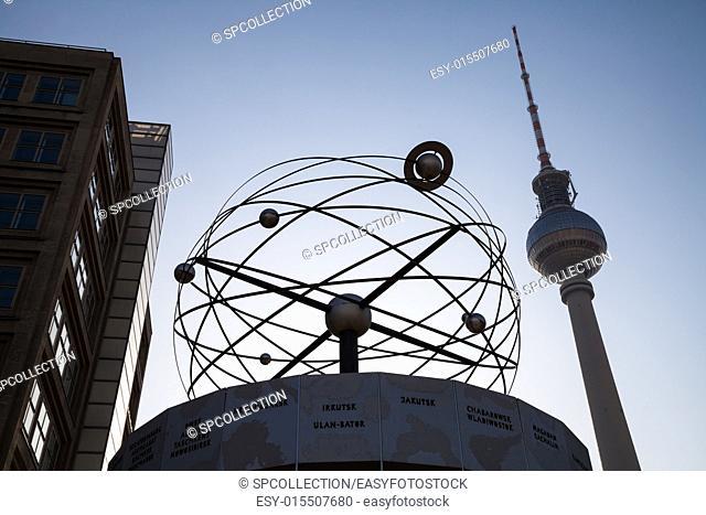 world clock at alexanderplatz in berlin