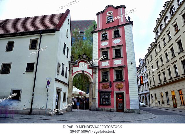 Hansel and Gretel house in Market square (Rynek) of Wroclaw or Breslau, Poland