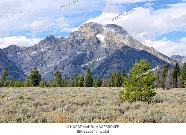 Views of Mount Moran from the Teton Park Road, Grand Teton National Park, Wyoming, USA