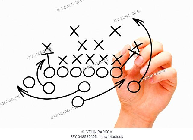 Coach drawing american football or rugby game playbook, tactics and strategy with black marker on white background