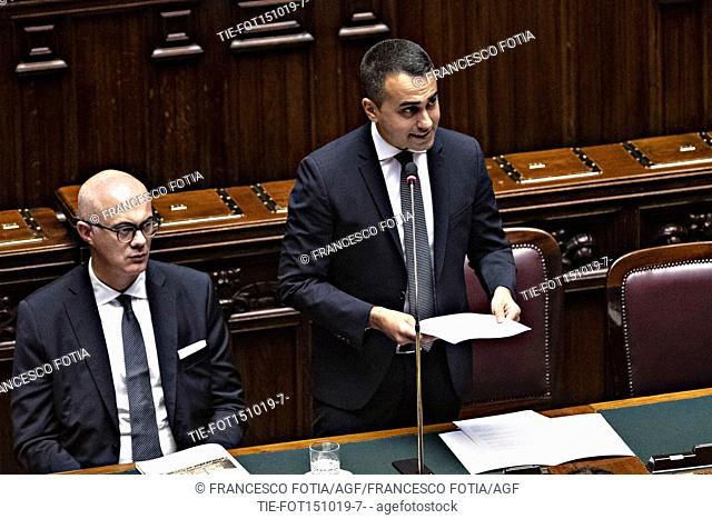 Minister of Parliament Relationship Federico D'Inca', Italian Minister of Foreign Affairs Luigi Di Maio in parliament during the Government's urgent information...