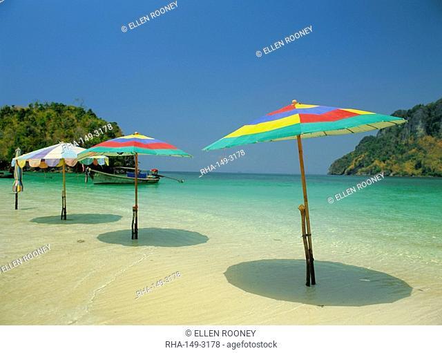 Beach umbrellas, Chicken Island, Krabi, Thailand