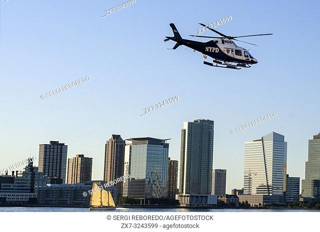 New York City Police Department Harbor Unit helicopter on the Hudson River in New York Harbor New York USA