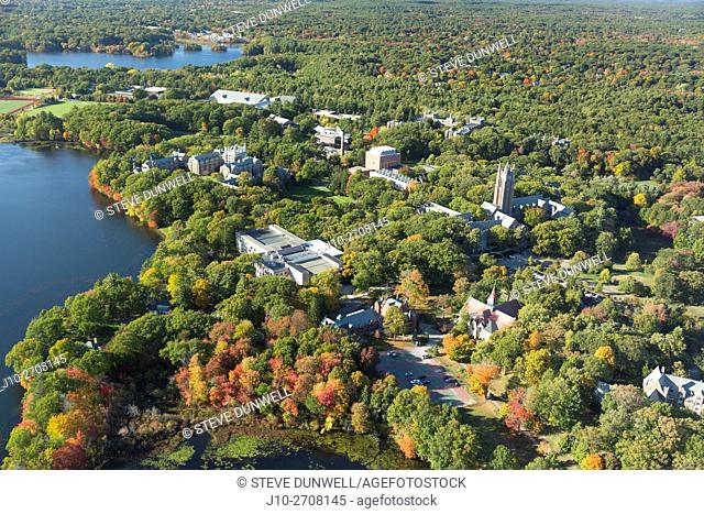 Wellesley College, Wellesley, MA aerial autumn, USA