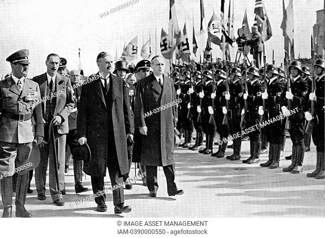 Chamberlain, Ribbentrop and Hitler at Munich, 1938  Photograph