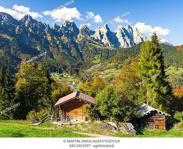 Villages Sarasin and Pongan in the Veneto under the peaks of the mountain range Pale di San Martino, part of UNESCO world heritage Dolomites