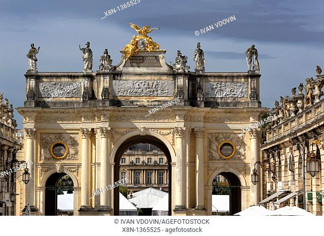 Triumphal arch, Place Stanislas, Nancy, Meurthe-et-Moselle department, Lorraine, France