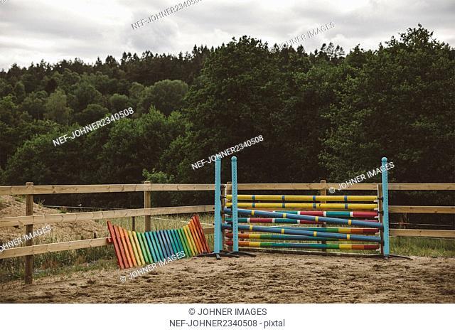 Colorful hurdles on paddock