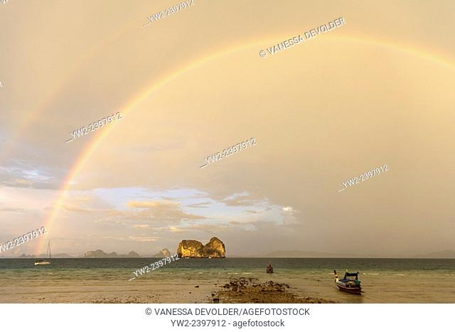 Rainbow, view from the beach of Ko Ngai, an island in the Andaman Sea, Thailand
