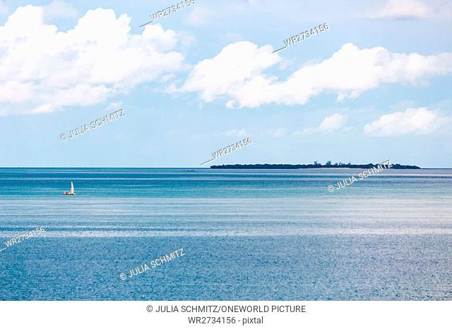 Tanzania, Zanzibar, Pemba Island, Pemba crossing - Zanzibar with the cargo ferry, sea view