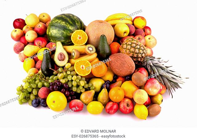 Collection of different fruits on white background