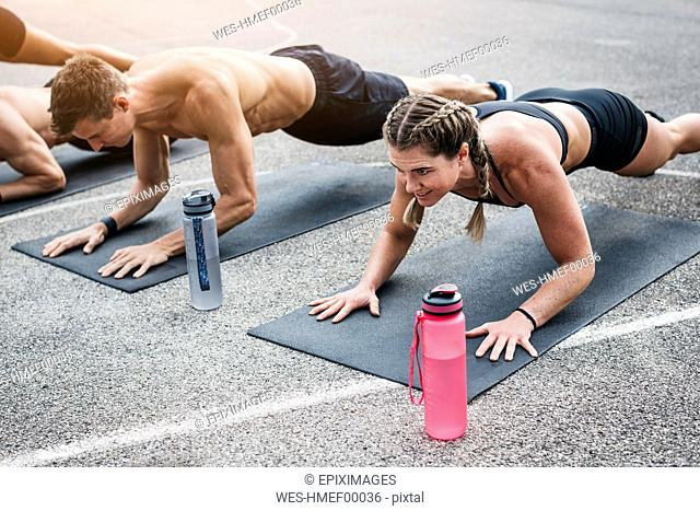 People during workout, plank